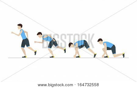 Running Man Step by Step Positions Set. Health Care Concept. Flat Design Style Vector illustration