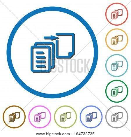 Move file flat color vector icons with shadows in round outlines on white background