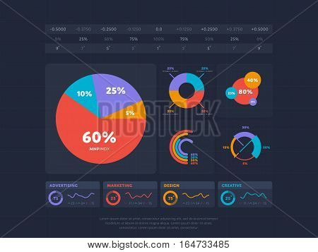 Business infographics set vector illustration. Chart, financial diagram, graph, report, stage elements. Modern infographics for website, corporate report, presentation. Infographics elements set. Abstract infographics design. Dark infographics bundle.