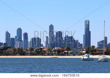 Melbourne City View from St Kilda Pier Australia