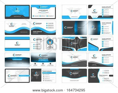 Business Card Templates. Stationery Design Vector Set. Blue And Black Colors. Flat Style Vector Illu
