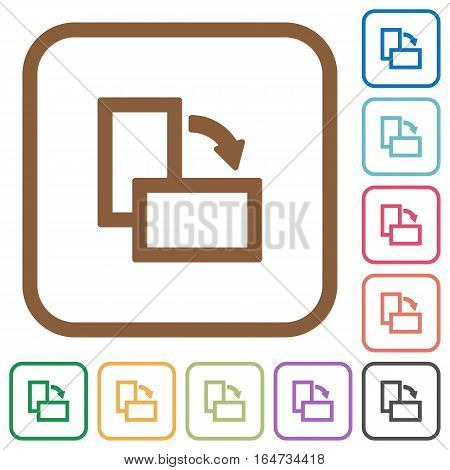 Rotate right simple icons in color rounded square frames on white background