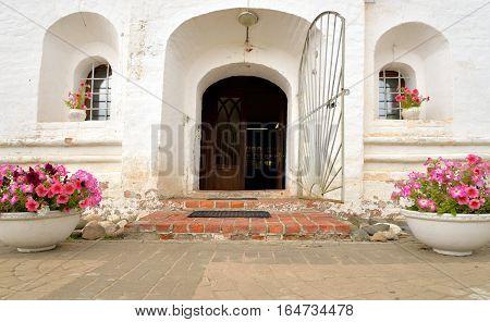 Entrance to the church market in Saviour Priluki Monastery near Vologda Russia.