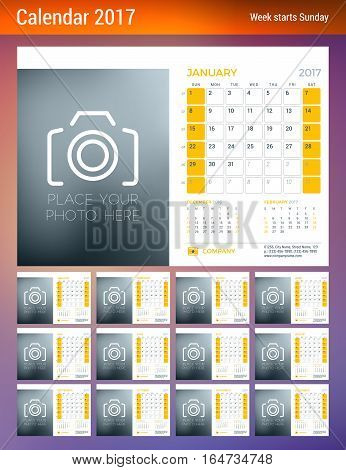 Desk Calendar Planner Template For 2017 Year. Week Starts Sunday. 3 Months On Page. Set Of 12 Months