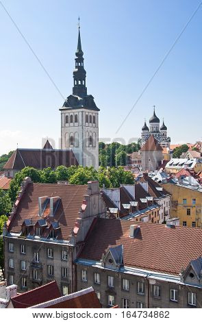 Niguliste (St.Nicholas) in lower town and Alexander Nevsky on upper city cathedrals in Tallinn Estonia