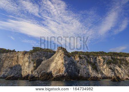 Nature landscape of Gargano National Park: coast of Tremiti Islands' archipelag,Italy (Apulia).San Domino island:view of the stacks Pagliai.