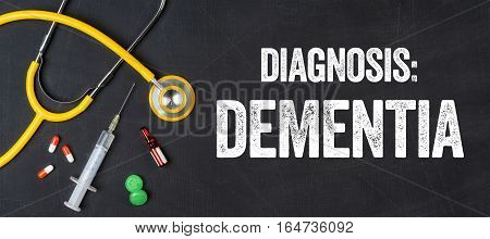 Stethoscope And Pharmaceuticals On A Blackboard - Dementia