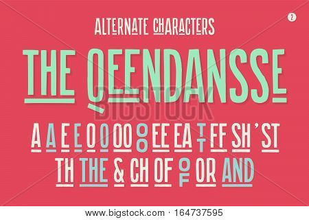 Hand-drawn condensed alphabet and font. Tall and thin uppercase letters and alternate characters. Hand-drawn sketch narrow sans serif font The Qeendansse, part Two. Vector Illustration