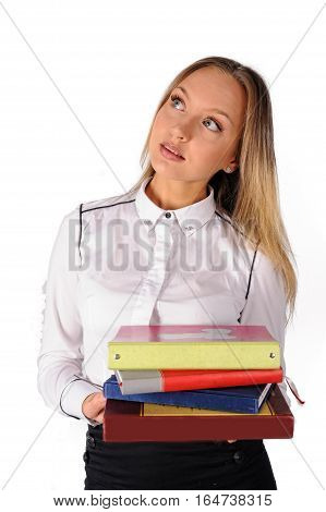 Attractive student or businesswoman in smart casual holding organizer over white background
