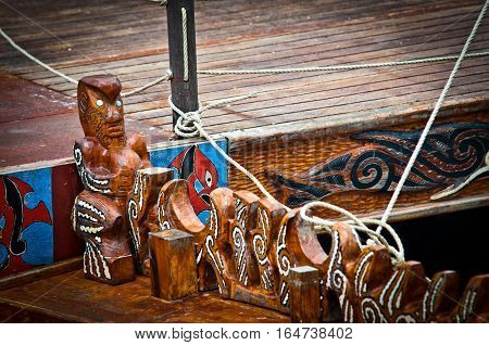 wooden statue and maori details, New zealand