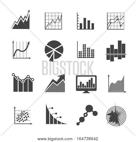 Business data analytics icons. Measurements and financial diagrams vector signs. Statistic market economy, diagram and financial report illustration