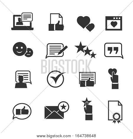 Consumer loyalty icons. Customers testimonials signs and users experience rating symbols. Feedback and review from client. Vector illustration
