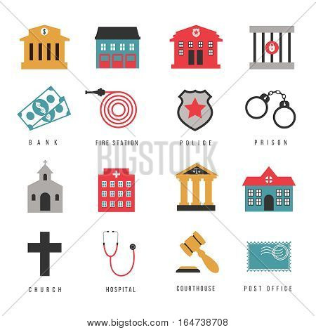 City government hall signs and buildings flat icons. Firehouse and court, church and hospital, vector illustration