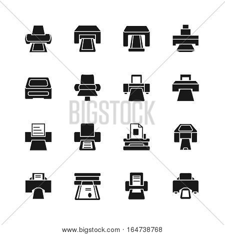 Print icons and printing documents signs. Electrical office printers. Print button icon for website . Vector illustration