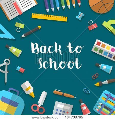 Back to school banner flat randomly arranged education icon set. School supplies book, album, pencil, paint, pen, brush, ruler, scissors etc Vector illustration