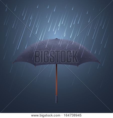 Blue umbrella and fall rain. Cool water storm and night sky protection vector illustration. Parasol protection from stormy rain