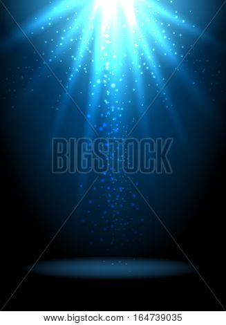 Magic light vector background. Blue holiday spotlight wallpaper with stars or sparkles. Illuminated effect with sparkle illustration