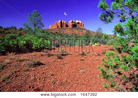 Cathedral Rock And Moon