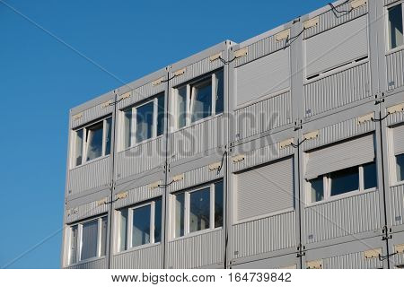 stacked housing containers - grey container offices
