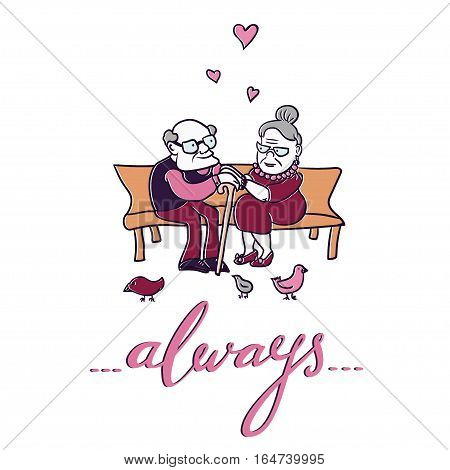Cute Valentines Day card with lovely and happy senior couple and hand-lettered word