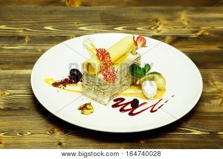 Delicious Cake With Wafer Roll