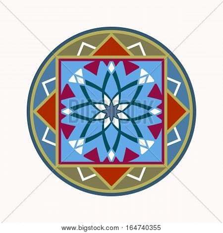 Mandala tattoo icon. Geometric round stylized ornament. Harmony, luck, infinity symbol. Olive, red, blue colored. Vector