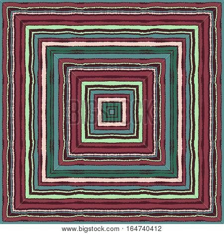 Striped rectangle pattern. Square lines with torn paper effect. Ethnic background. Maroon, turquoise, green, cream colors. Vector