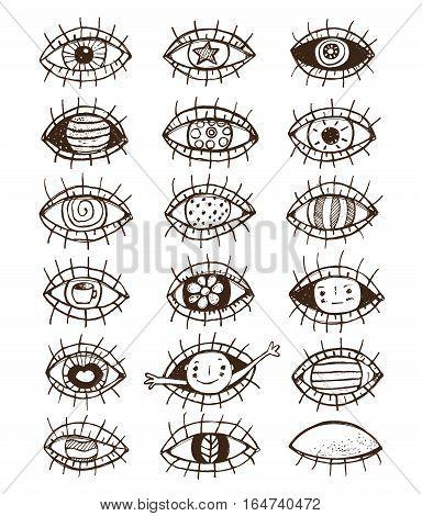 Eye set monochrome black and white sketch textured doodle design. Vector illustration.