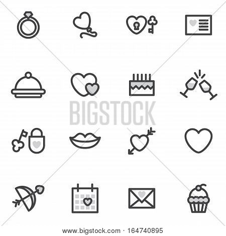 Valentine Day vector outline icons executed in the modern style. logos, icons.