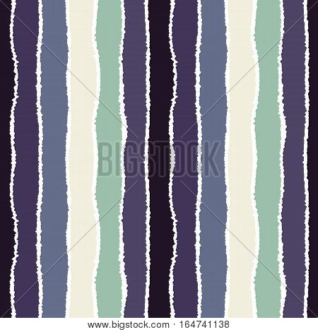 Striped seamless pattern. Vertical wide lines with torn paper effect. Shred edge band background. Gray, blue, white contrast colors. Vector
