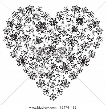 Love concept of lots of flowers in the shape of a heart on white background. Adult antistress coloring page. Black and white illustration for coloring book