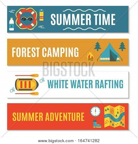 Modern set of four horizontal web banners  for rafting, camping or other summer activities. Flat design. Colorful vector illustration with safety ring, tent, campfire, raft, map etc. For web design and advertisement