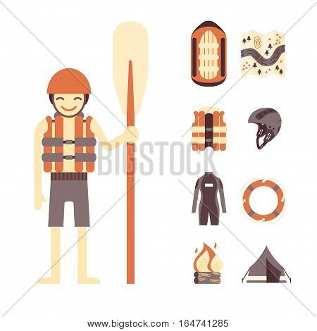 Vector set of rafting and camping icons - rafter with oar, raft, vest, round-bouy, map, camping fire, helmet, tent. Fully editable. On isolated background. Could be used as infographic elements or for web design, banners, flyers etc.