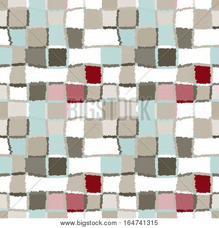 Seamless geometric mosaic checked pattern. Background of woven rectangles and squares. Patchwork, ceramic, tile texture. Khaki, green, gray, vinous, white colors. Vector
