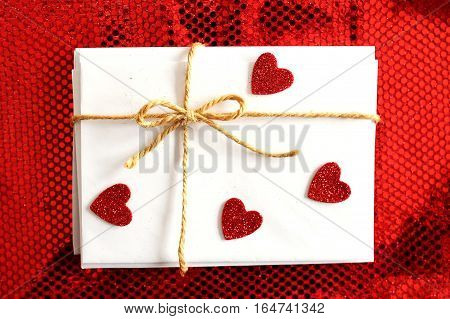 Valentine's Day Letters And Envelopes With Bow And Red Heart Stickers