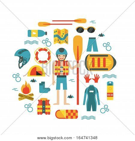 Vector illustration with rafting and camping equipment - vest, round-bouy, rafts, camping fire, helmet, tent, stopwatch etc. Flat design. Could be used for websites, advertising, banners and flyers