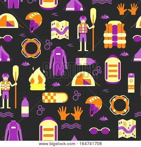 Vector seamless pattern with colorful rafting and camping equipment on dark isolated background. Flat design. Pattern with raft, oard, helmet, lifebuoy, tent, campfire, wet suit, rafter and other stuff.