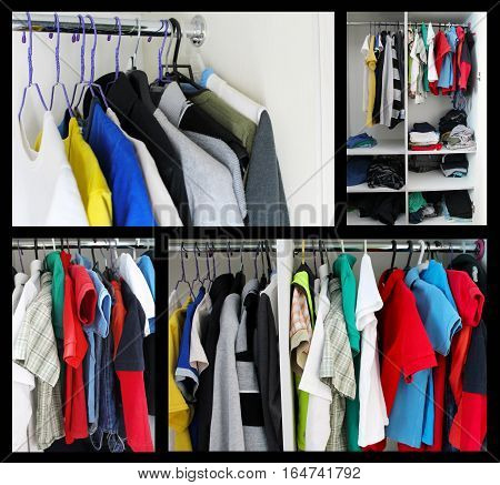 Adult clothing and children's clothing on hangers. Collage.
