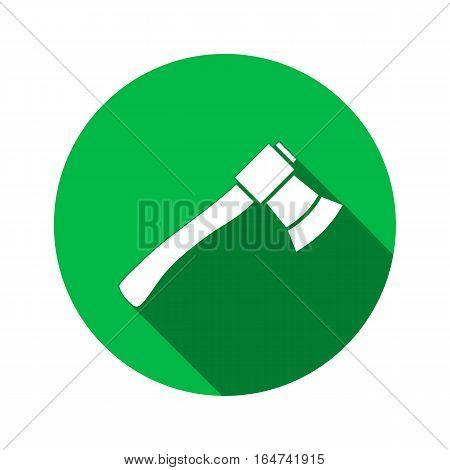 Tool icon. Axe, hache instrument. Work, job, labour, toil, repair, fix, building symbol. White sign on round green button with long shadow. Vector isolated