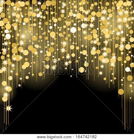 Round shining dots, star splashes, blurred spots, vertical golden lines, glittering space dust, magic cosmic rays, bright shimmer beams isolated on black vector illustration. Invitation card design