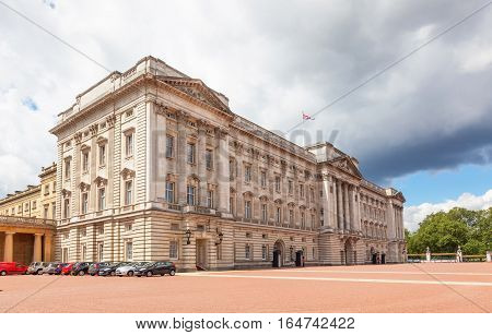 LONDON, UK - JULY 11, 2012: A view of Buckingham Palace in London, England, on a cloudy day.