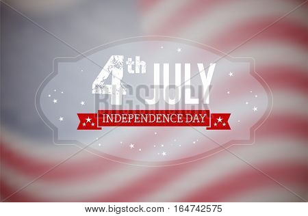 American 4th July Independence Day card with blurred USA flag - vector illustration
