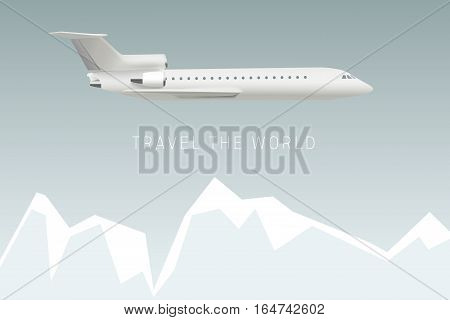 Travel the world by plane. Vector banner with mountains and airplane.