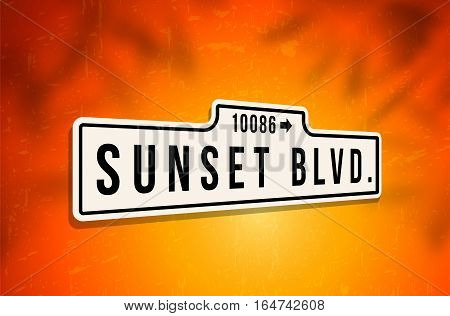 Metal sign of Sunset Boulevard on background with grungy scratches and shadows - vector illustration