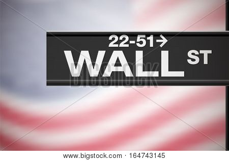 Metal sign of Wall Street on background with blurred american flag - vector illustration