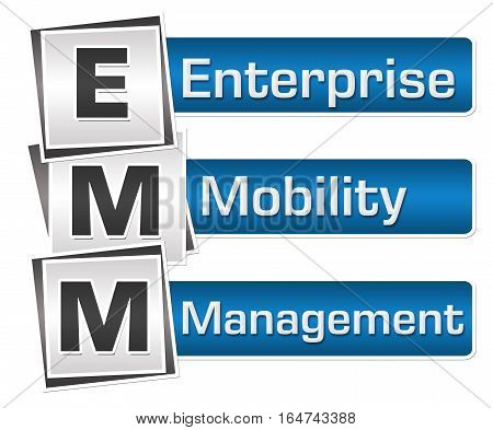 EMM- Enterprise Mobility Management text written over blue grey background.