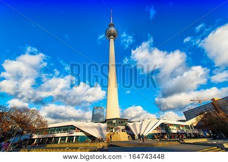 Berlin Germany - November 27 2016: Fernsehturm Berlin Alexanderplatz