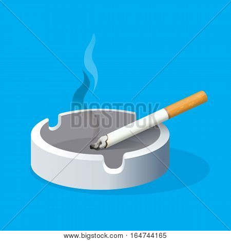 Ashtray with lighted cigarette on blue background. Smoking cigarette with filter in ceramic tray. Realistic vector illustration of harmful habit. Place for smoking sign. Addiction with risk for health