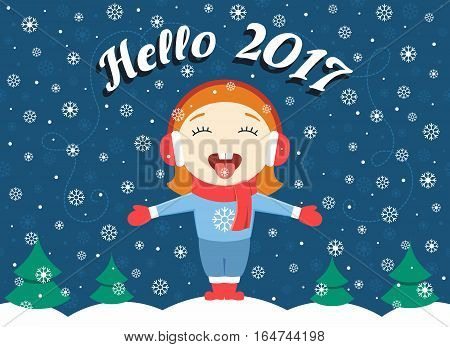 flat design vector illustration of cute little girl standing in the park on a winter evening greeting New Year and catching snowflakes