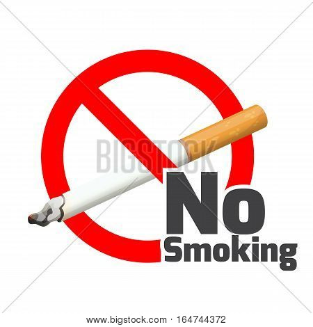 No smoking sign. Red alert symbol cross cigarette on white. Sticker label for posters and banners realistic vector illustration forbidden to smoke. Sticker warning that smoking is prohibited